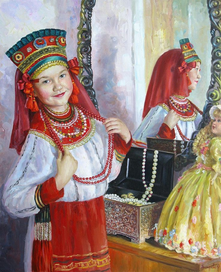 Russian costume in painting. Julia Bakaeva. Before the Show. 2013. A pretty Russian girl in the national costume is preparing for a folk show at the mirror. #cute #kids #Russian #folk