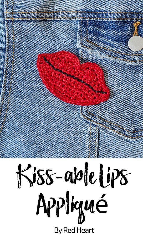 Kiss Able Lips Appliqué Free Crochet Pattern In Aunt Lydias Classic