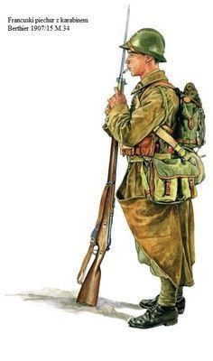 ESERCITO FRANCESE - Soldato di Fanteria con carabina Berthier 1907/15 M34 - pin by Paolo Marzioli