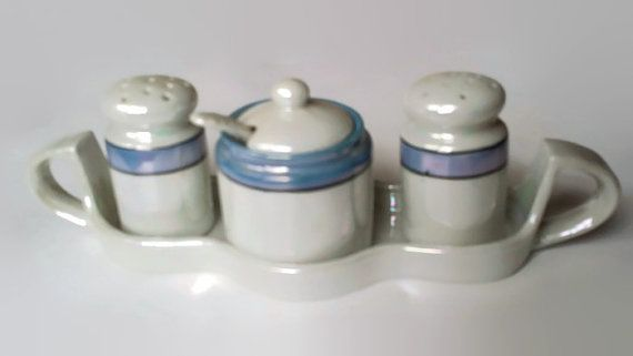 Vintage White and Blue Lusterware Condiment Set by colonialcrafts