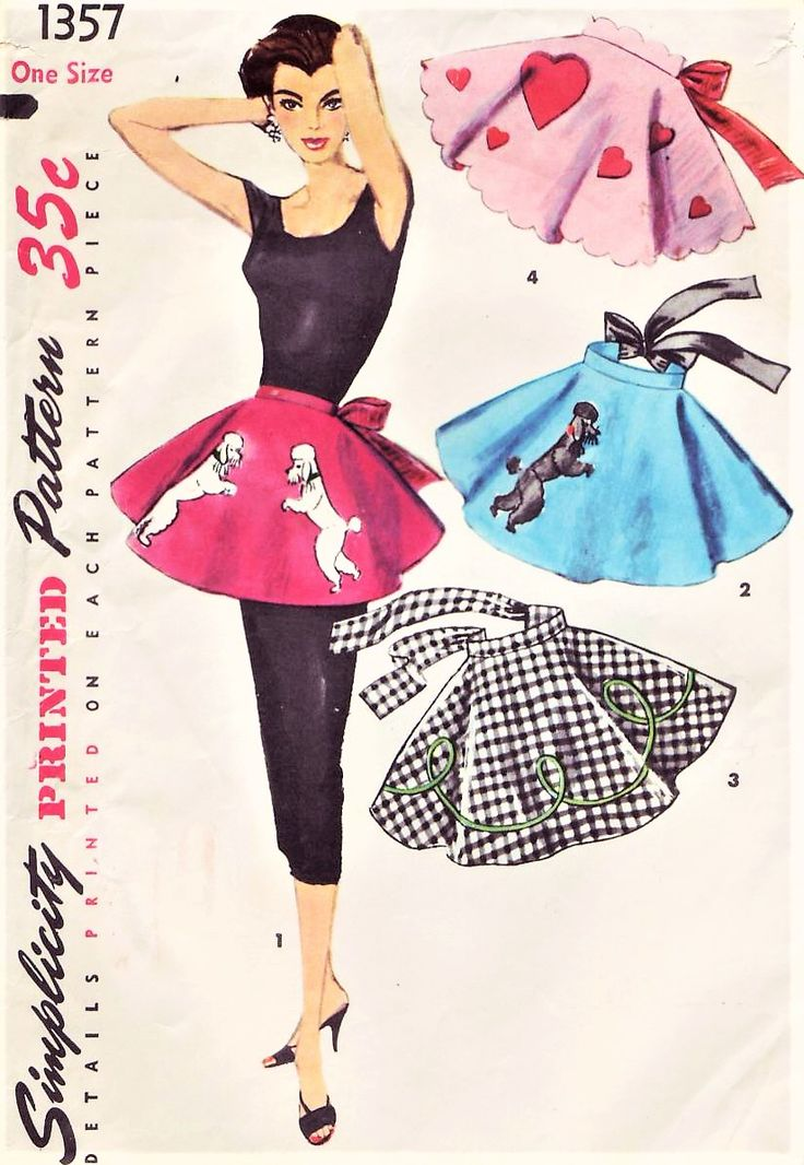 1950s FAB Hostess Aprons Pattern SIMPLICITY 1357 One Yard Half aprons and Applique Transfers Poodle Dogs, Hearts Vintage Sewing Pattern