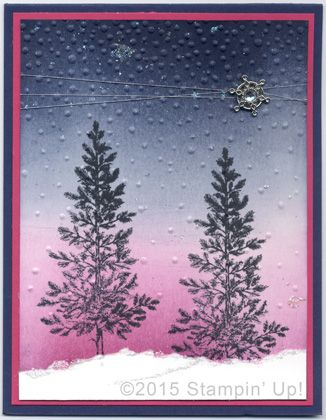 Stampin' Up! Christmas Cards - Lovely as a Tree stamp set Softly Falling Embossing Folder and Winter Wonderland Embellishment