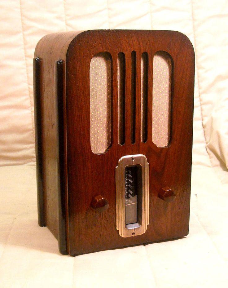 Old Antique Wood Stewart Warner Vintage Tube Radio   Restored Working Table  Top. EBay Auction