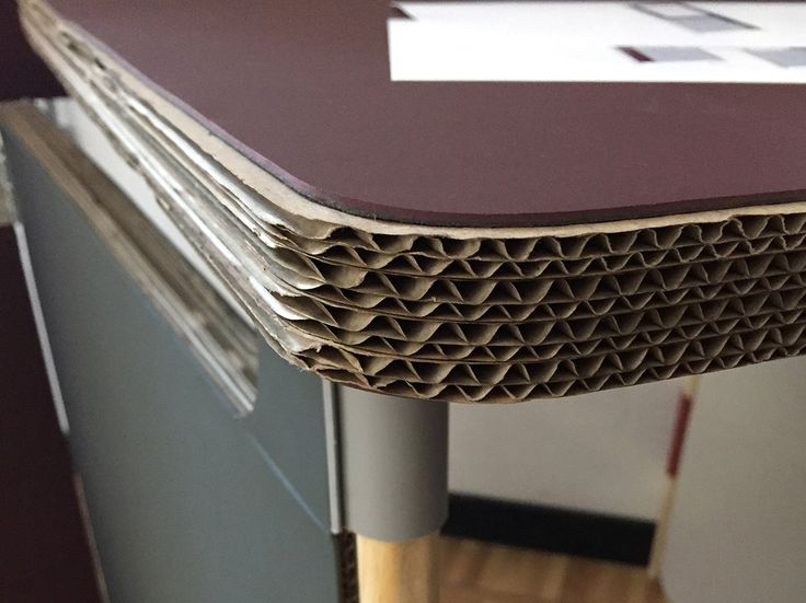 As Core Honeycomb Cardboard Material Was Used Which Was Upholstered On Both  Sides With Linoleum.