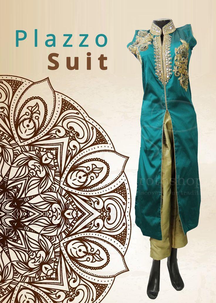 Plazzo Suit with Nehru jacket – A smart combination gives you a stunning look. Get this Stunning Palazzo Suit @ https://goo.gl/nTAFUC #wedding #IndianWedding #Embroidery #EthnicWear #Punjabi #Bridal #Fashion #Style #onlineShopping #palazzosuit #ethnic #Designer #IndianEthnicDress #TraditionalDress #ramadan #eid2017