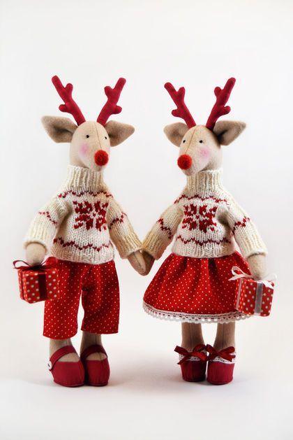 Куклы Тильды ручной работы. Заказать Парные рождественские олени. Лина Шейн. Ярмарка Мастеров. Интерьерная игрушка, рождественский подарок