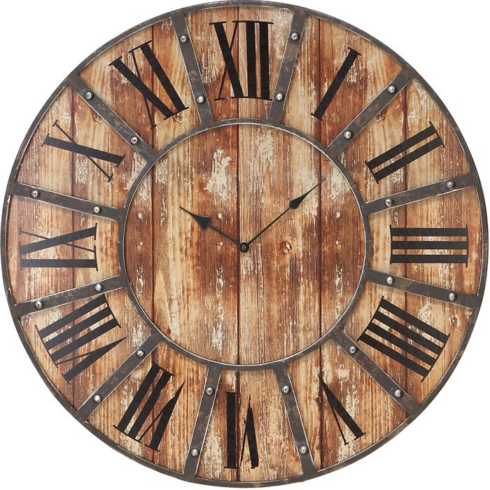 Weathered wood wall clock with a Roman