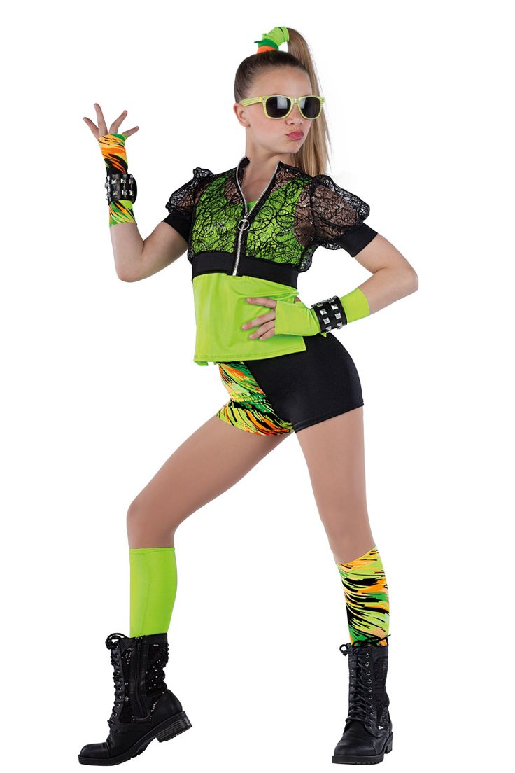 15361 Cool Like That | Hip Hop Funk Dance Costumes | Dansco 2015 | Lime spandex top. Separate black sequined raschel knit and black spandex jacket with metal ring zipper front. Multi-color printed and solid black spandex shorts. Gloves, wristbands, socks and binding for hair included.
