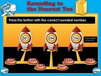 SMART Board Lesson: Rounding rocket ships!  Round numbers to the nearest tens and hundreds. Download it for free on ModernChalkboard.com.