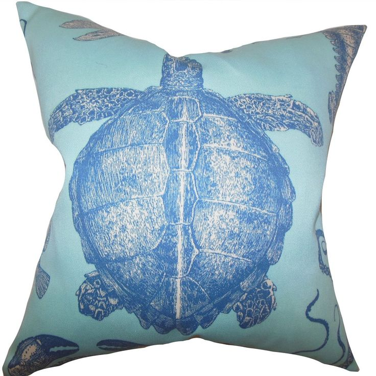 """Aeliena Coastal 24-inch Down Feather Throw Pillow Sky Blue (24"""" x 24""""), Size 24 x 24 (Synthetic Fiber, Graphic Print)"""