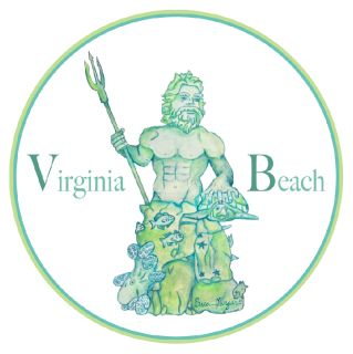COMING SOON!  King Neptune proudly greets visitors on the Virginia Beach boardwalk. The 34-foot bronze statue holds a plethora of sea life, from swimming schools of fish to an octopus. The sticker features a watercolor painting of the statue and is designed for placement on the exterior of car windows.  Made in the USA UV resistant, vinyl Designed for indoor or outdoor use 4 in. diameter circle Free U.S. Shipping (allow 3 days for handling)