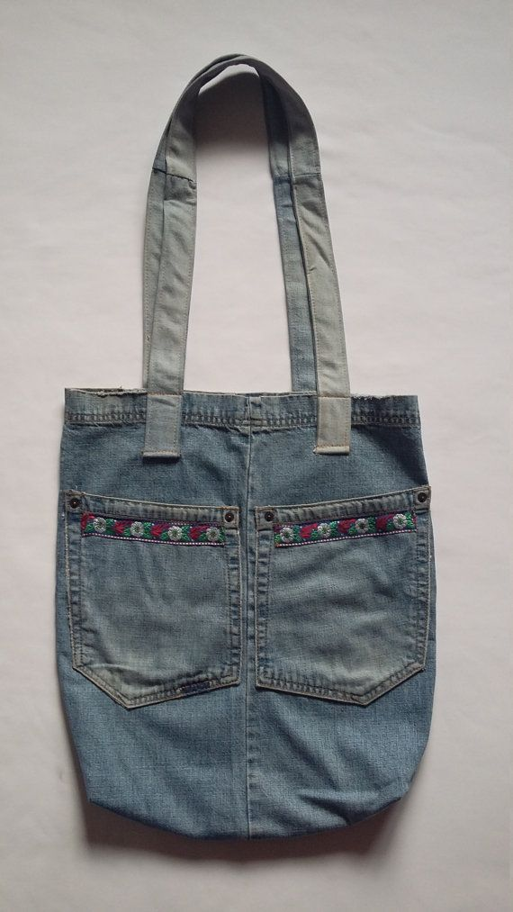 Tote Denim Bag / Tote Jeans Woman Bag / Tote Floral Jeans Handbag / Woman Denim Shoulder Bag / Woman Folk Tote Bag / Bohemian Shopping Bag
