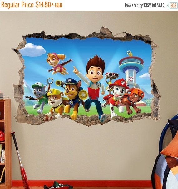 PAW PATROL 3d Wall Sticker Smashed Bedroom Kids decor Vinyl Removable Art DECAL Huge   Large   Small Removable  Mural for Kids Dogs Tv Show
