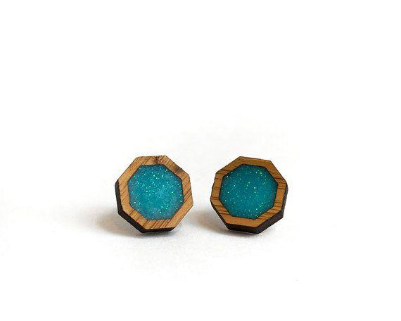 Octagon Resin Earrings Aqua Resin Earrings by HeartoftheHeart