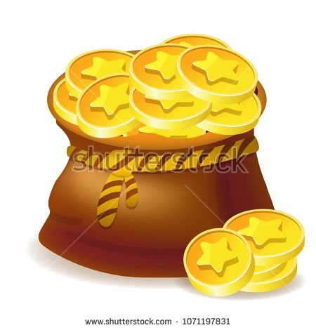 Vector bag with golden coins - game icon isolated on white background