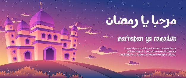 Marhaban Ya Ramadan With A Magnificent Mosque At Dusk Greeting Card Ramadan Dusk Mosque