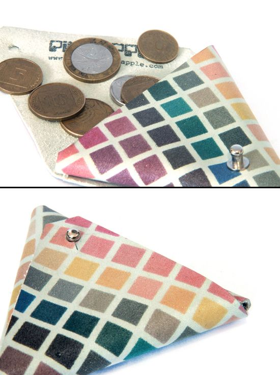 leather coin purse with pattern