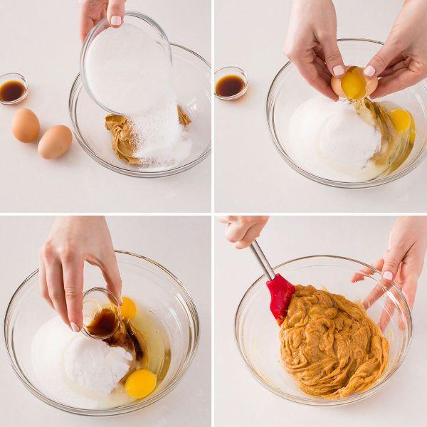 cara membuat: 1. panaskan oven sampai 177 derajat Celcius. 2. Masukkan selai kacang, gula, telur dan vanilla ke dalam mangkuk dan aduk hingga rata. 3. Ambil satu sendok makan lalu letakkan pada loyang yang telah dilumuri minyak 4. panggang kurang lebih 13-15 menit.
