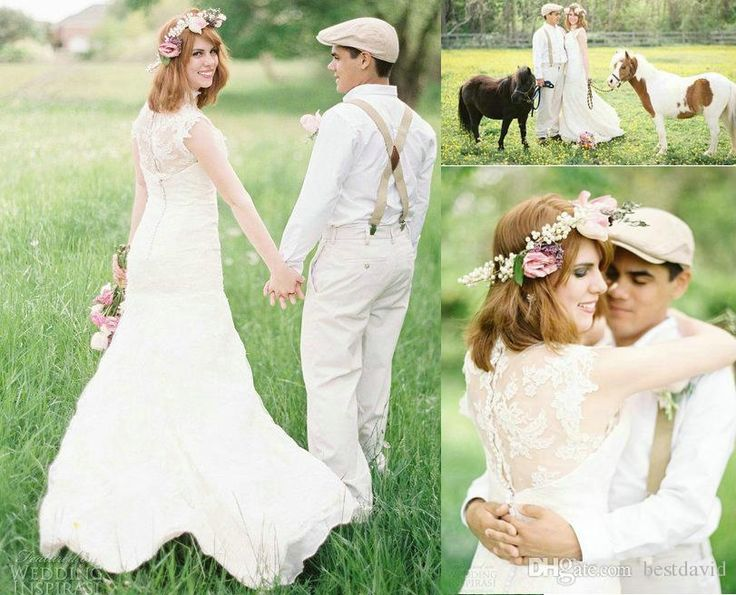 Cheap Country Farm Lace Wedding Dresses With Horses 2017 Sareh Nouri High Neck Applique Illusion Back Cap Sleeves A Line Chapel Train Ball Gowns Debenhams Dresses From Bestdavid, $150.76  Dhgate.Com