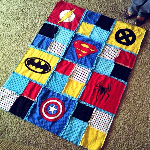 Superhero rag blanket - super easy if you use TShirts with the logo already on it otherwise just use iron on transfers or fabric paint (if your artsy)!