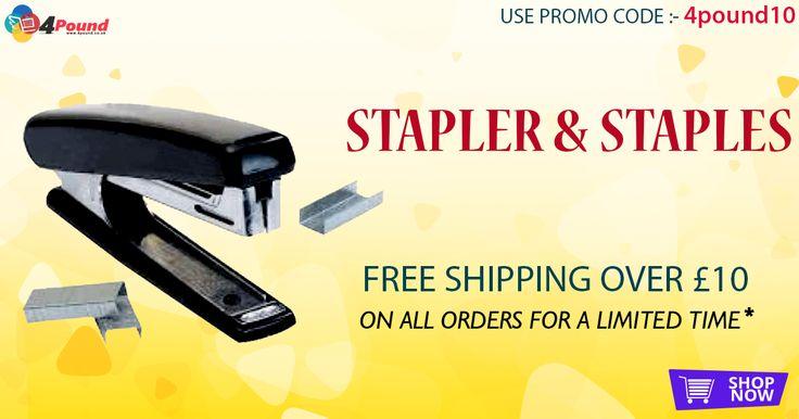 Buy Stapler & Staples for £1.67 apply coupon code as 4pound10 to get 10% OFF. Order now. #stapler #staples #4pound #london #manchester_shopping http://www.4pound.co.uk/stapler-staples