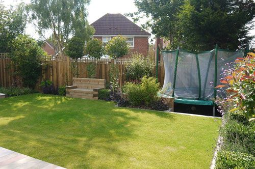 Small Contemporary Garden by Garden Designer Andrea Newill. Different sunken trampoline