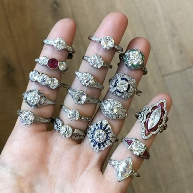 """1,178 Likes, 20 Comments - ERSTWHILE (@erstwhilejewelry) on Instagram: """"Edwardian era rings from 1901 to 1920 featuring delicate and refined settings made in white gold…"""""""