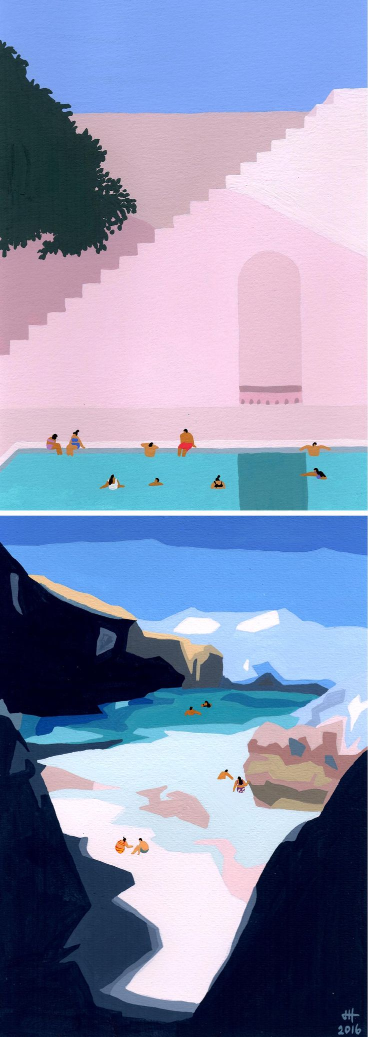 Swimming Paintings by Joanne Ho | gouache painting | summer art | swimming artwork