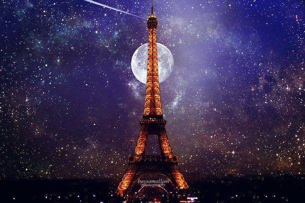 искусство, красиво, синий, город, Эйфелева башня, любовь, луна, ночь, Париж, фотография, романтично, небо, космос, звезды, ничего себе