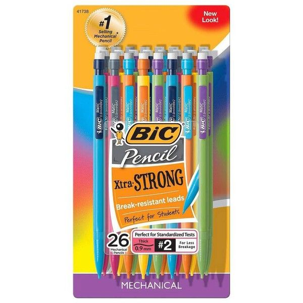 Bic Xtra Strong 26ct .9MM Mechanical Pencil, Grey ($6.49) ❤ liked on Polyvore featuring home, home decor, office accessories, school, stationary, grey, bic mechanical pencils and mechanical colored pencils