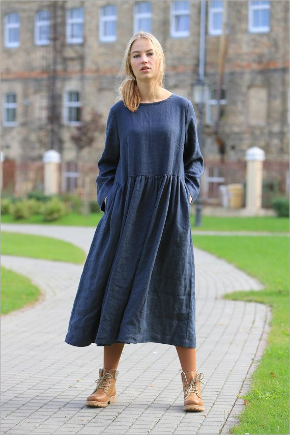 Linen dress. Long sleeved linen dress. Comfortable by LinenCloud