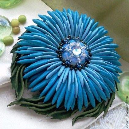 """Броши ручной работы. Ярмарка Мастеров - ручная работа. Купить """"Лазурь"""" Брошь цветок натуральная кожа. Handmade. Синий"""