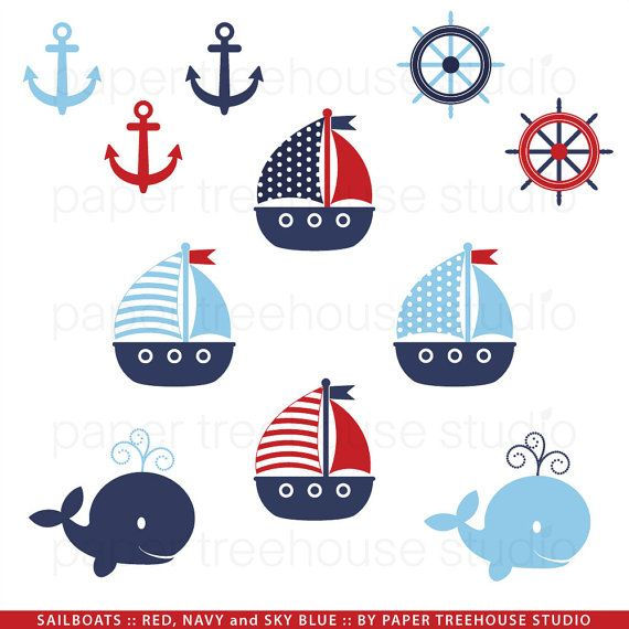 Sailboats, Anchors and Whales - Printable Clip Art Set - Red Navy and Sky Blue - Eleven Files - ID130