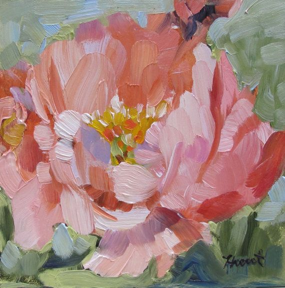 Abstract realist painting by Linda Hunt titled 'Peach Peony' small painting peony floral flower 6X6 contemporary alla prima still life NEW