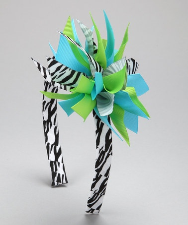 Take a look at this Green Zebra Surprise Bow Headband by Picture Perfect Hair Bows on #zulily today!