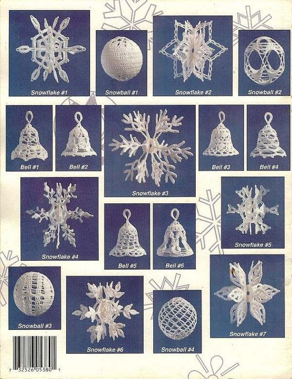 X104 Crochet PATTERN ONLY Snowballs, Snowflakes and Bells Ornament Pattern on Etsy, £7.91