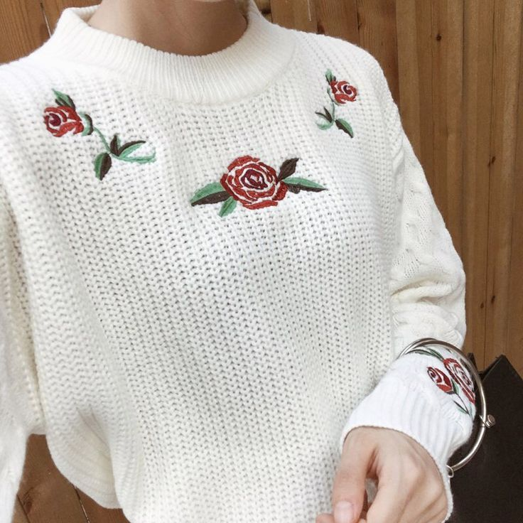 $17,99 Sweater - http://ali.pub/xsg91 AliExpress holy look rose white pullover clothing clothes fashion nice cool girl Korea style outfits