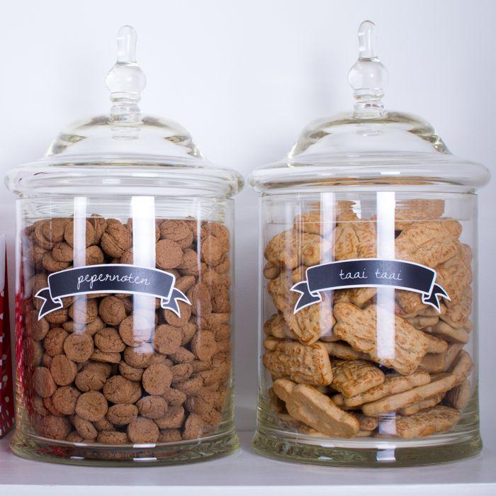 Pepernoten & Taai taai potten, labels verkrijgbaar in de shop !