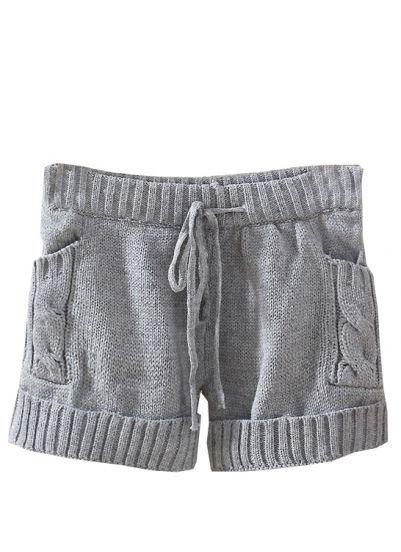 Grey Drawstring Cable Knit Sweater Shorts