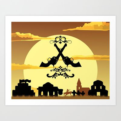 2 gunz west Art Print by Ace of Spades - $17.99
