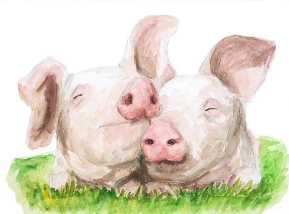 Schweine kuscheln von RIN Dies ist ein Druck von sehr detaillierten Aquarell von mir erstellt und von hand gezeichnet. Dieser Druck wird ergänzen und verbessern jedem Dekor-Stil, vor allem rustikal oder Bauernküche inspirieren Haushalt. Mein Animal-Prints werden schön aussehen auf ihre