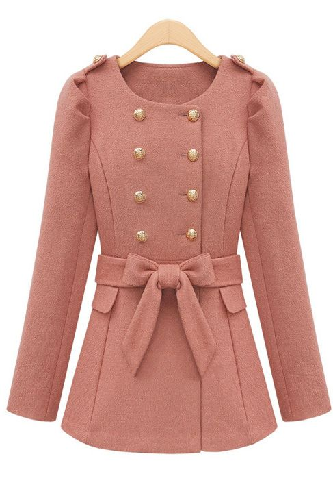 Wool long-sleeved round collar double-breasted match chatelaine coat
