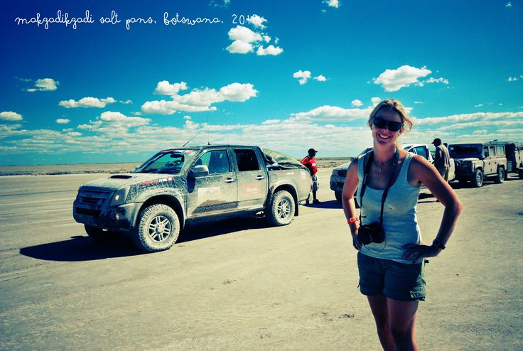 Mandi on our 4x4 adventure on Makgadikgadi Pans in Botswana