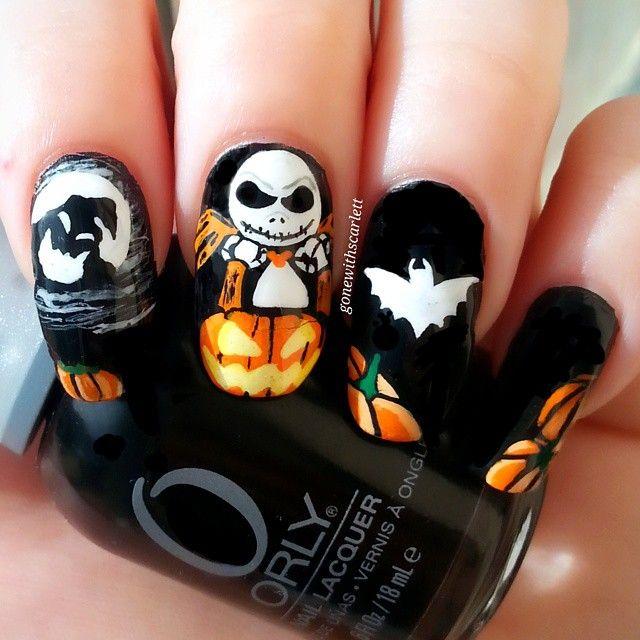 Instagram media gonewithscarlett - The pumpkin king halloween #nail #nails #nailart
