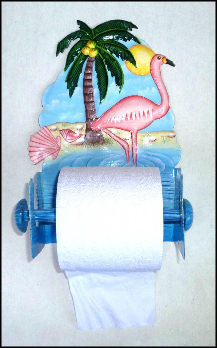 Flamingo bathroom decor - Flamingo Toilet Paper Holder Tropical Hand Painted Metal Bathroom Design Toilet Tissue Holder