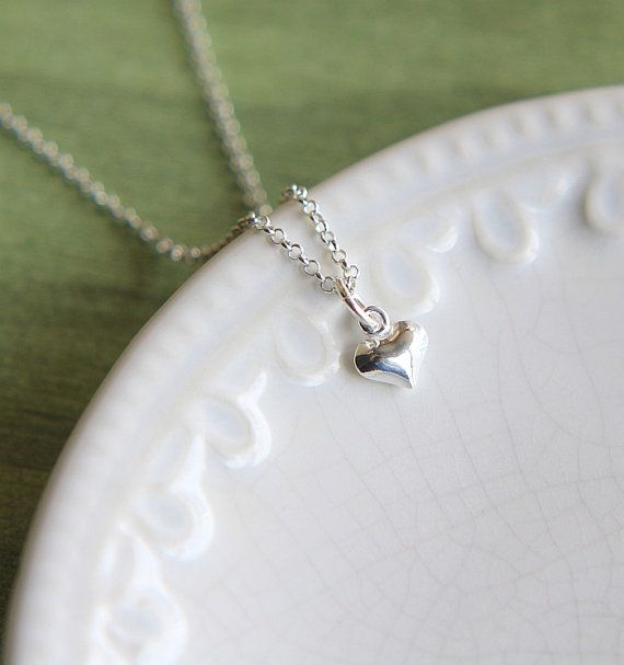 Silver Heart Necklace Small Heart Necklace Sterling by JKWstudio