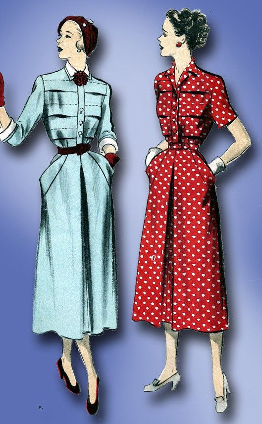 1950s Vintage Advance Sewing Pattern 5391 Misses Tucked Dress Size 12 30 Bust