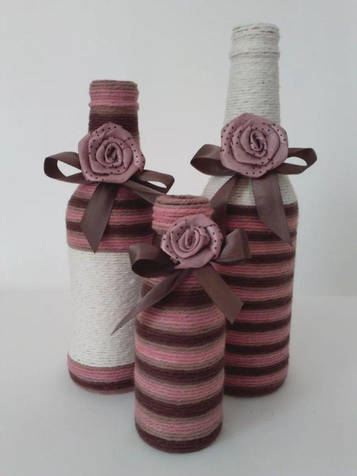 garrafas decoradas com barbante e fitas