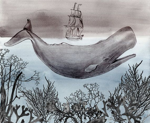 The Sea - Whale Watercolor - Large Print 16x20 - Poster - Ocean - Aquatic - Ship - Nautical - Moby Dick - Illustration