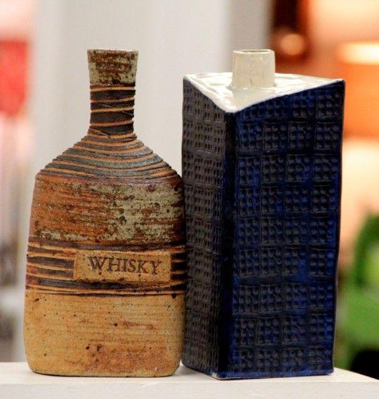 Danish & Japanese Pottery - Tue Poulsen Danish Whiskey Bottle & Ikebana Style Studio Pottery Bottle